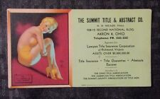 """1940's EARL MORAN Pin-Up Blotter 6x3.5"""" Holding My Own - Summit Tile Co."""