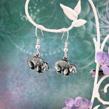 Wombat Souvenir Dangle & Drop Earrings Australian Made Pewter Gift