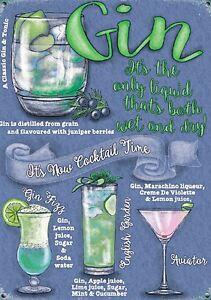 Gin Cocktail Kleines Stahlschild 200mm x 150mm (Og)