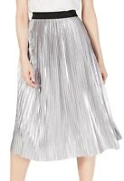 INC Women's Skirt Shiny Silver Size Large L Metallic Pull On Pleated $79 #209