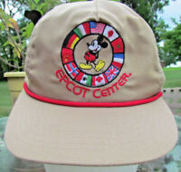 Vintage EPCOT CENTER Nations MICKEY MOUSE Hat Cap USA MADE Strapback Disney VGC!