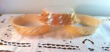 "Vtg Fire King 3 Individual Casserole Peach Lustre Swirl Anchor Hocking 5"""