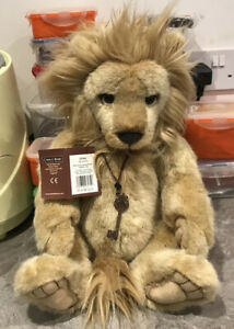 RARE 2014 linus charlie bear tags on stunning lion 17.5 inches