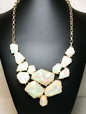 Vintage Bib Statement Necklace Iridescent Acrylic Beads On Gold Chain Jewelry