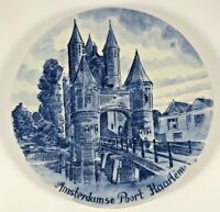 Norelco Delfts Blauw Plate Amsterdamse Poort Haarlem Hand Painted Holland 1969