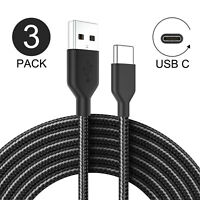 3-Pack 3ft Braided USB C Type C Fast Charger Quick Charging Cable Date SYNC Cord