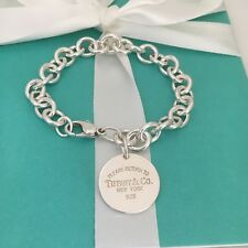 """Large 9"""" Please Return to Tiffany & Co Silver Round Tag Dangle Charm Bracelet"""