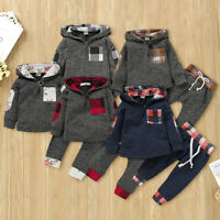 2PCS Toddler Kid Baby Boy Girl Long Sleeve T-shirt Tops+Pants Outfit Clothes Set