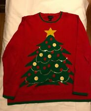 Ugly Christmas Sweater XL Party Holiday Red Green Tree star extra large