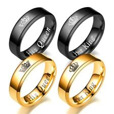 2 Color Stainless Steel His Queen and Her Queen Couple Lovers Rings Widding Gift