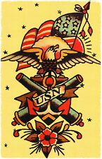 154 USA NAVY Eagle Cannons Sailor Jerry Traditional style Flash poster print