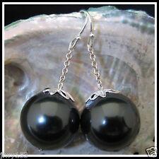 16MM **HUGE** BLACK AAA Seashell Dangle Pearl Earrings Australia Seller 153