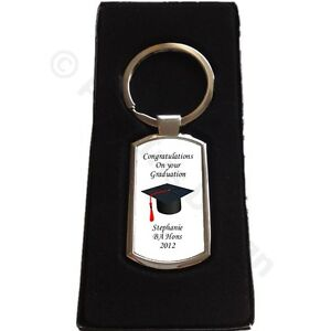 Personalised Graduation Mortar Board Hat Owl Metal Keyring Keepsake Gift Present