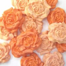 12 Orange Pale Mix Sugar Roses edible sugarpaste flowers wedding cake decoration