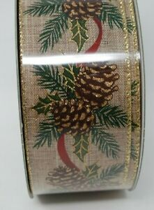 "Kirkland Premium Burlap Pine Cone Holly Berries Wire Edge Ribbon 2.5"" 50 Yard"
