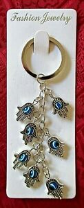 """Key Chain Includes 7 Lucky """"Hamsa Hand"""" Pendant With a Revolving Lucky Eyes #54"""