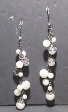 Hanging White Bead Earrings