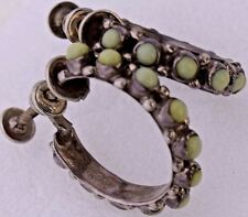 Petite Point Green Cluster Hoop Earrings Screw Back Taxco Mexico Signed Vintage
