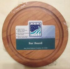 "NEW Cherry BAR BOARD 6"" ROUND - SLICING LEMONS & LIMES - BY SNOW RIVER w MOAT"