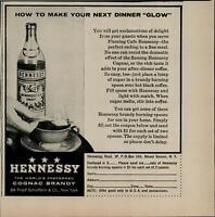 1956 Hennessy Cognac Brandy Spoon On Fire Vintage Print Ad 3186