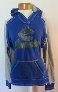 NWT Majestic Vancouver Canucks Womens Distressed Logo Hoodie S Blue MSRP$60