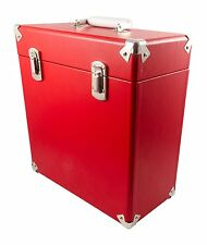 "GPO Vinyl Record Case Albums 12"" LPs Storage DJ Flight Box with Lid - Red"