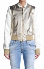 Just Cavalli Women's Ivory & Gold Sparkle Full Zip Bomber Jacket US S IT 40