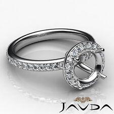 Diamond Vintage Engagement Ring 18k White Gold Halo Pave Set Semi Mount 0.6 Ct.