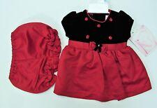3-6M Christmas Holiday 2pc Black velvet Top Red Bottom Dress NWT