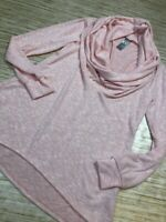 P-71 GO Couture Womens Pullover Sweater Pink  Stretch Cowl Neck Hi Low S