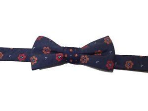 Countess Mara blue orange floral bow tie silk new