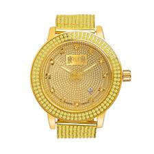Canary Gold Tone Real Diamond Mens Jojino/Jojo/Joe Rodeo Custom Bezel Band Watch