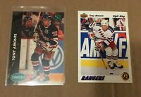 Tony Amonte Rookie Cards (Lot 2) 91-92 Upper Deck and 1991 Parkhurst NY Rangers