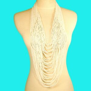 """45"""" VERY LONG Multi Strand Handmade White Color Bohemian Dramatic Necklace"""