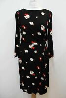 HOBBS Ladies Black Floral Long Sleeve Knot Skye Shift Dress Size UK12 NEW