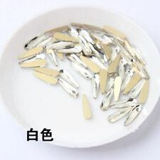 20pcs 3D Nail Art White Crystal Rhinestone Nail Gems Flat Back Teardrop Shape