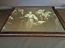 "Antique Framed Black & White Print ""Christ In The Temple"" By Heinrich Hofman"
