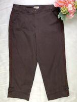 Talbots Petite Stretch Womans Brown Cropped Capri Pants Size 10p