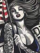 Original Famous Stars & Straps Smoking Hot Tattooed Pin Up Girl Men's T-shirt M