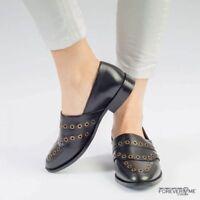 Women Ladies Leather Heel Slip On Dress Office Black Loafer UK Size 3 4 5 6 7 8