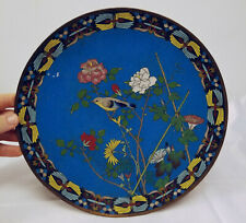 Antique Japanese Cloisonne Enamel Charger Dish Plate Sparrow Finch