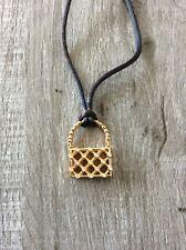 Swarovski Necklace Gold Crystal Purse Pendant on Black Silk Cord
