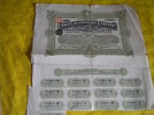 Vintage share certificate Stock Bonds The Lena Goldfields limited 1909