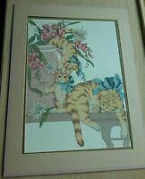 Vintage Cat Kitten Wall Art Handmade Needlepoint Cross Stitch 18x24