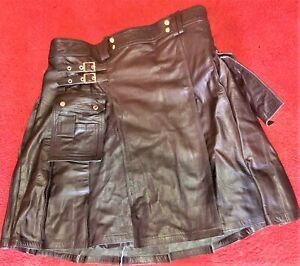 neuer Kilt aus Leder / Lederkilt schwarz, schwarz, Länge 61 cm, Taillenweite 53