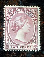 Beautiful 1891 1902 Queen Victoria Falkland Islands Two Pence Stamp J54