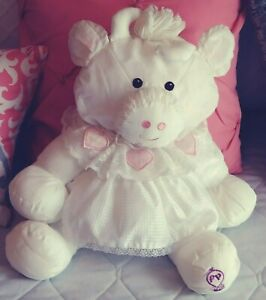Fisher Price Vintage Puffalump White Cow Lace Pink Hearts Dress Plush Toy 1986