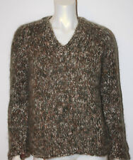 VINTAGE Famelia Italy Heathered Green White Brown Wool V Neck 36 S M