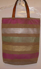 JASPER and JEERA Anthropologie Striped Bronze Brown CottonTote