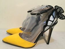 Size AU 9 / EUR 40 Women's White, Black & Yellow Combo Butterfly High Heels